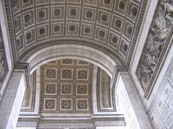 Looking up at the center of the Arc de Triomphe. Beautiful.