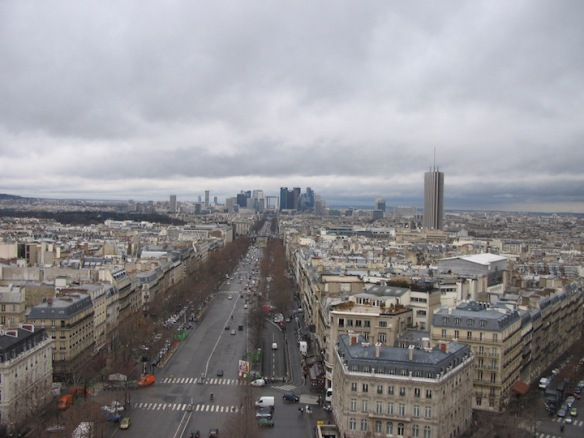 Looking northwest-ish, down the Avenue Charles de Gaulle. What you see in the distance is the business district, La Défense, and more specifically, that square thing is La Grande Arche de la Défense, a monument meant to echo the Arc de Triomphe. It's almost 4 miles away.