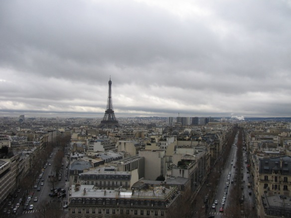 Seeing the Eiffel Tower from the roof of the Arc de Triomphe. And I say again: pinch me. February 2006.