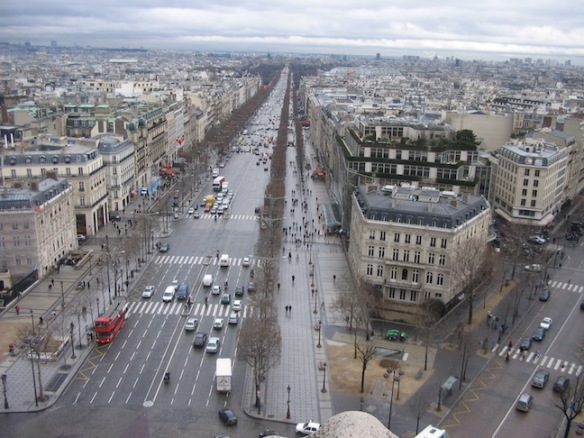 Now looking the opposite direction, southwest, down the Avenue des Champs-Élysées. (You can't tell, really, without the leaves, but they shear the trees along the sidewalk into a square shape.) This avenue ends up ahead in the Place de la Concorde (a roundabout) that abuts the Jardin des Tuileries, and after that, the Louvre.