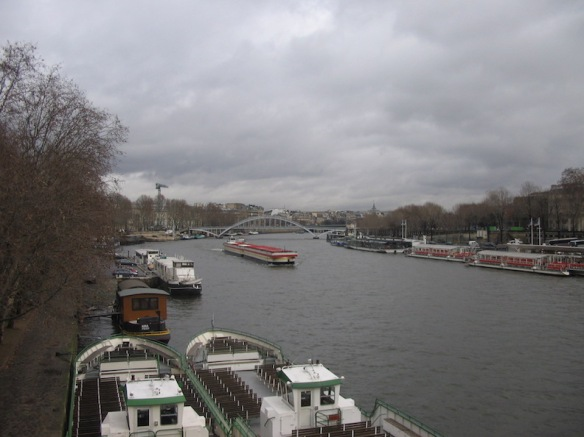Looking east along the Seine. It's a busy river.