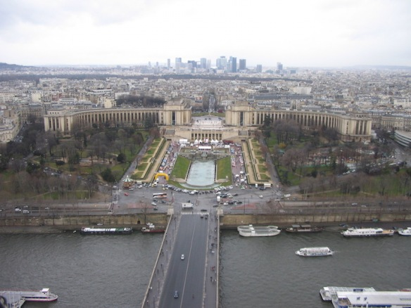 From the Eiffel Tower: A view of the Palais de Chaillot, situated in the Jardins du Trocadero; it houses several museums.