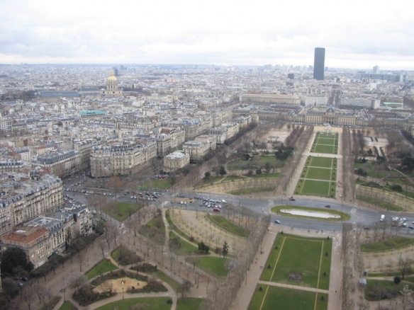 From the Eiffel Tower: A view of the Champ de Mars (it's a public greenspace) adjacent to the Eiffel Tower. February 2006.