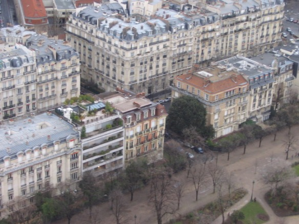 From the Eiffel Tower: I loved this one apartment building with the garden and swimming pool on the roof.