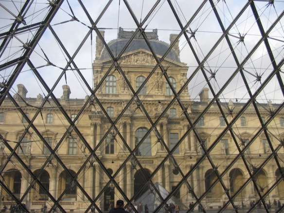 Under the Pyramid at the Louvre.