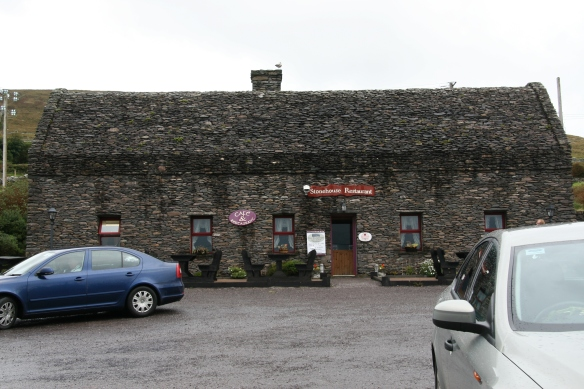 Actually, you stop right here and walk across the road to the entrance to the fort. The Stonehouse Restaurant is exactly what it looks like—dry stone masonry.