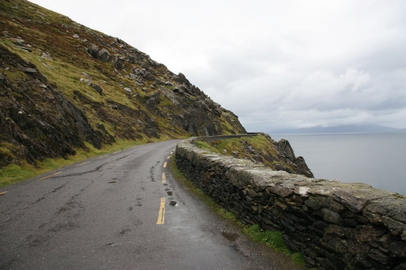 Continuing on to another pullout; you can see the road is only one lane wide. We're at Slea Head.