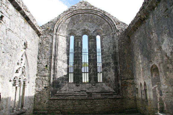 This wall faces east, thus the rising sun would stream through these windows, in front of which would have been the altar.