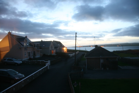 Sundown at the Kenny compound in Lahinch. Again, that's Liscannor you see across the bay.
