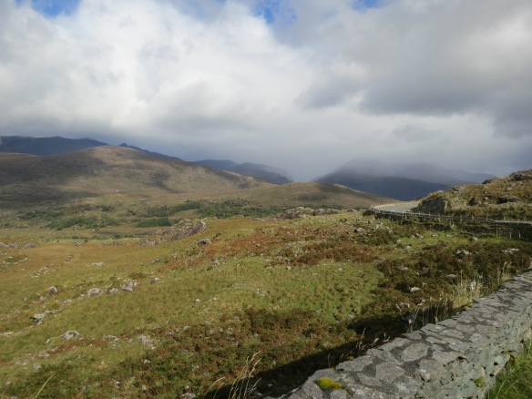 Macgillycuddy's Reeks. See the little bit of road hanging off the hill? (Margaret's photo.)