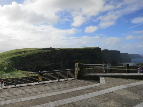 "See? Here they are, just out of the frame to the right, the Cliffs of Moher. :) This concrete ""roof"" is terraced, like an amphitheater. (Margaret's photo.)"