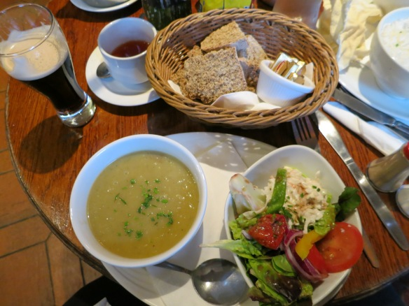 I had potato and leek soup and a salad. I loved the way the cook piled different interesting things in the salad with a dollop of homemade coleslaw and a dash of balsamic vinegar. Tasty. (Margaret's photo.)