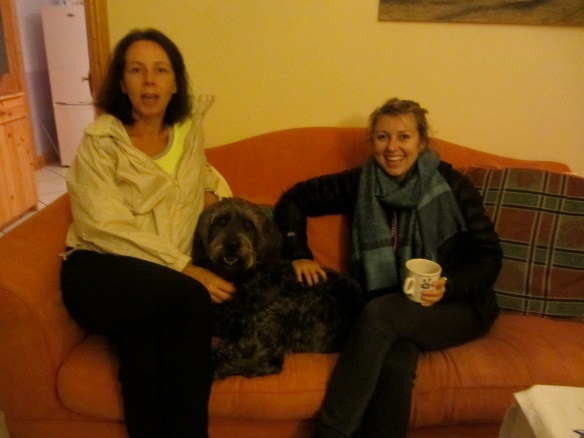 Edel, house dog Drago the Labradoodle, and Alli.