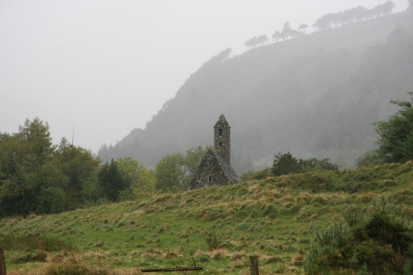 The new approach to the Glendalough monastic site. Now we're getting close; that's St. Kevin's Kitchen (Church).