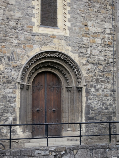The Romanesque doorway leading to the south transept, a fine example of twelfth-century Irish stonework. (Margaret's photo.)