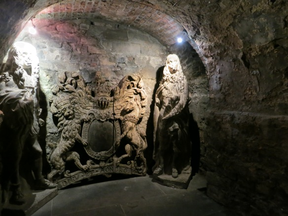 The crypt at Christ Church. I believe these are statues of Charles I and Charles II, the oldest known secular carvings in Ireland. Not original to the church, obviously. Interesting how things end up one place or another. These originally stood at Dublin's medieval city hall, which was demolished in 1806. (Margaret's photo.)