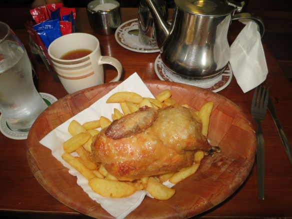 It was pub grub, but it was hot and good. I had the roast chicken and chips. (Margaret's photo.)