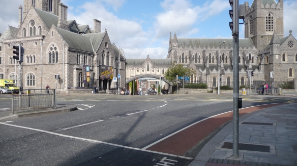 "We all know of landmarks or sights in our hometowns that become icons for us. This is one of Gerry's iconic images of Dublin (it's associated, also, with ""almost home."") :) That's Christ Church on the right. On the left is the Synod Hall (now the Dublinia museum)."