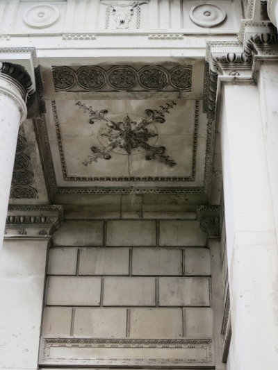 The underside of the overhang. Yes, that's an ox skull in the frieze. (Margaret's photo.)