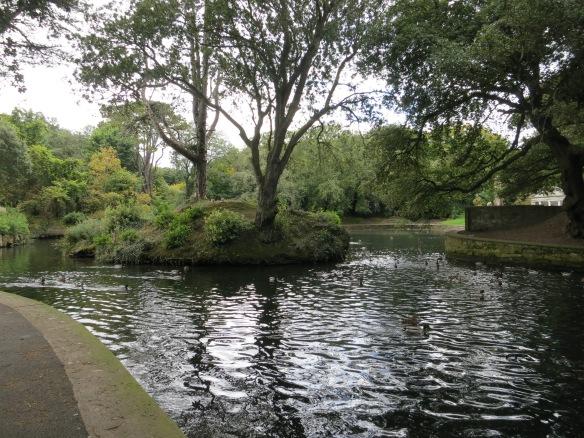Walking around the duck pond. (Margaret's photo.)