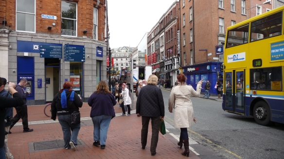 We've got the Avoca shop on Suffolk St. in our sights, just coming off Grafton St. Note the Muslim girl.