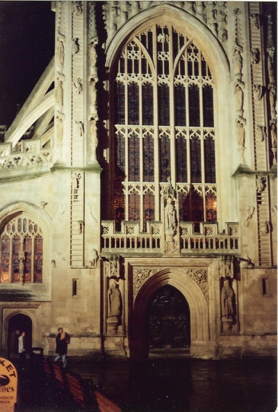 Bath Abbey—and the angels climbing the ladder to heaven. December 2000.