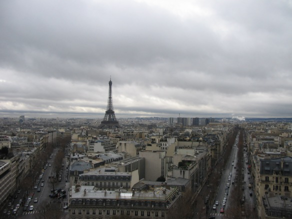 You really can't miss it. This was taken from atop the Arc de Triomphe.