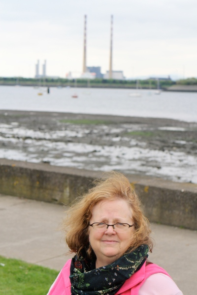On the strand at the Clontarf Road and Vernon Avenue, with the Poolbeg Towers in the background.