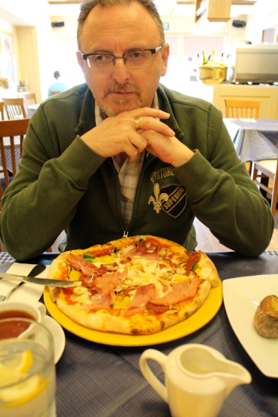 Gerry had pizza. It was lovely. I ordered a calzone that could have fed both of us.