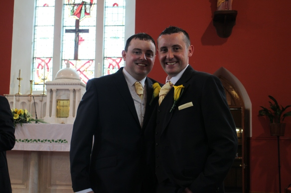 Just waiting for the bride! Neil and his brother, Eoin, a best man.