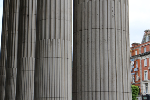 The colonnade in front of the GPO. You can still see the bullet holes sustained during the Rising.