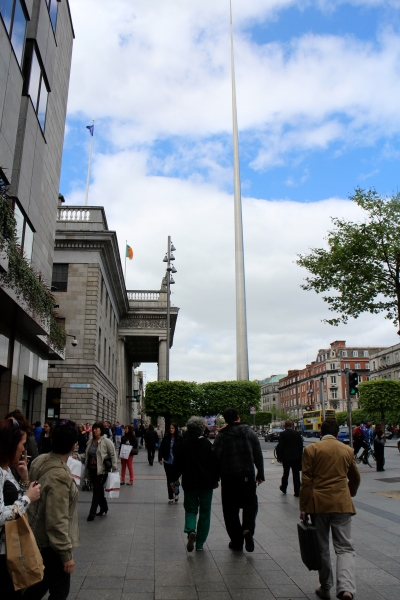 Looking back up O'Connell Street—the GPO on the left here and the Spire in the distance.