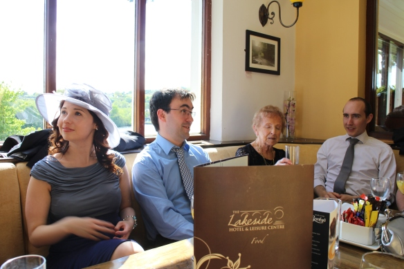 In the bar: Ashling Hampson, Damian Synnott, Bridie Hampson, and Patrick Green. At last, someplace warm!