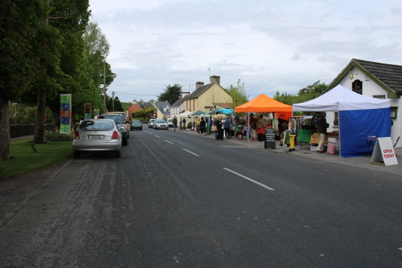 Main Street, Mountshannon, on a farmers market Saturday. The town park is on the left of this photo.