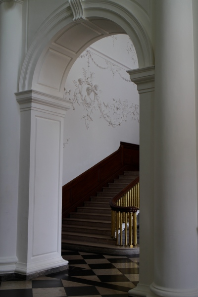 Now I'm in the entry hall, looking back through the doorway at the stairs I've just descended.