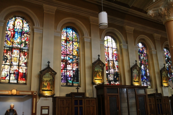 The stained glass is beautiful.