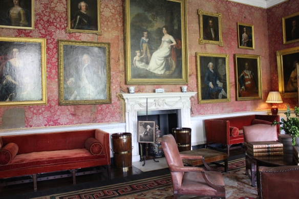 The red drawing room at Castletown House. The walls are covered in damask probably dating from the late nineteenth century.