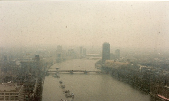 Here we're looking south past Westminster now (in the lower right corner here); the rain's really come up.