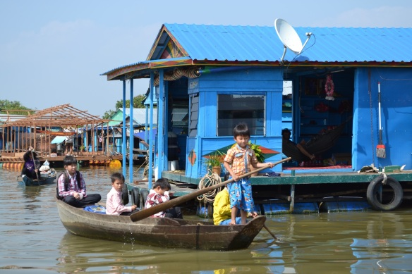 Locals use boats to travel between homes and shops.