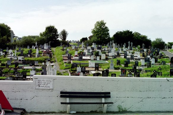 "Cemetery by Bantry Bay, 2003. ""No ball playing."""