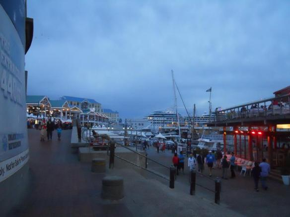 The waterfront at dusk.