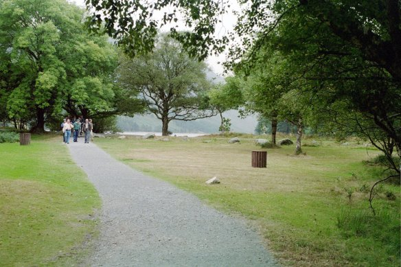 Approaching the upper lake at Glendalough, 2003.