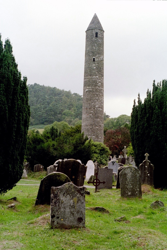 The round tower at Glendalough, 2003.