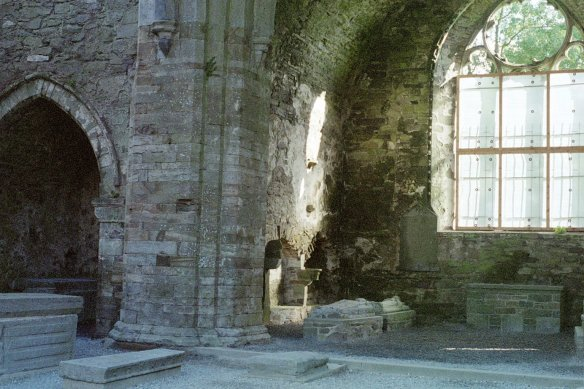 This is where the altar would have been; to the left is is a smaller chapel. There are two carved tombs.