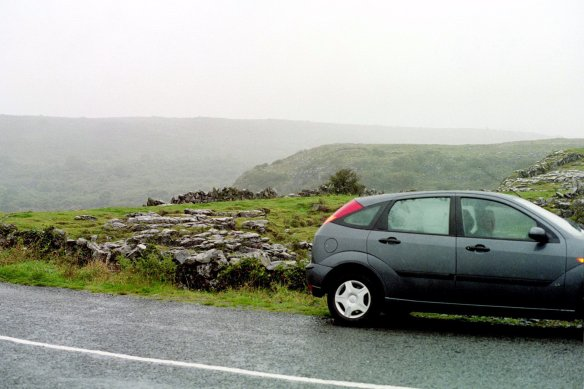 Driving around in the Burren in the rain, 2003.