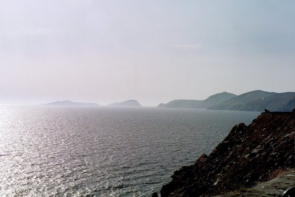 Approaching the Blasket Islands, just off the Dingle Peninsula, 2003.