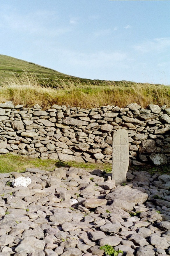 A very old slab cross at Gallarus Oratory.