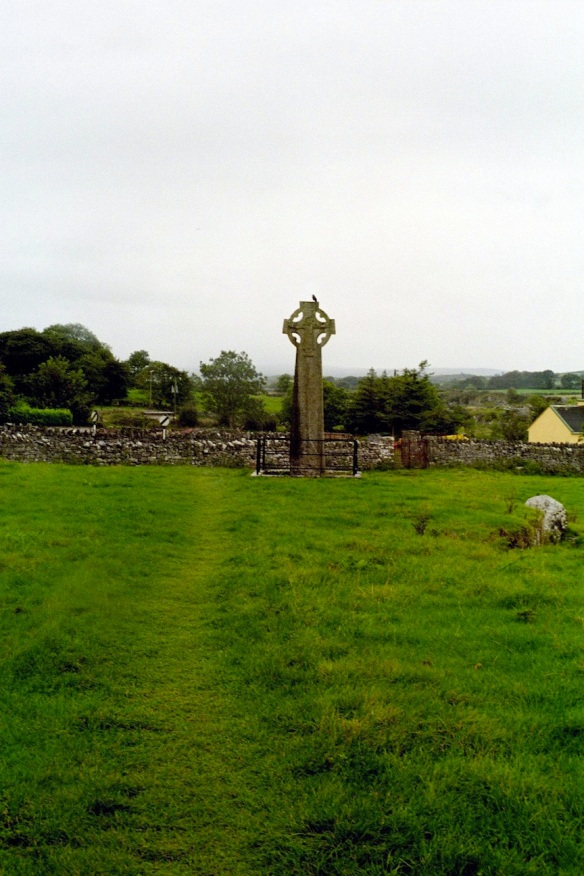 The West Cross, Kilfenora, 2003. Blackbird on top.