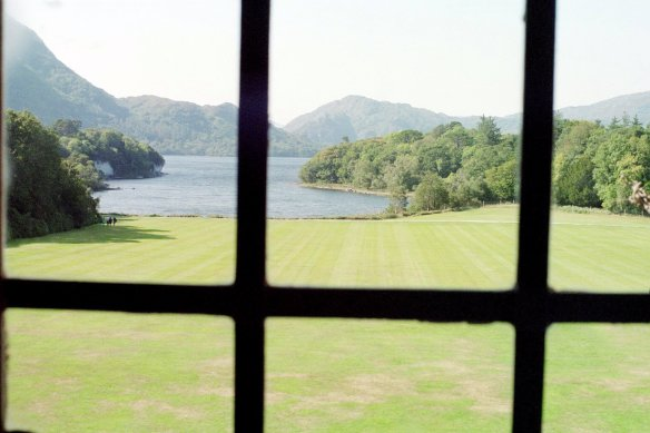 A view from an upstairs bedroom at Muckross House. Yes, you are not supposed to bring cameras in, but this is to protect the house from the flash built in on so many cameras. But I walked in with my old film camera that did not have a flash. I respected the embargo and did not take photos inside, but felt that no one would begrudge me this view of the lake.