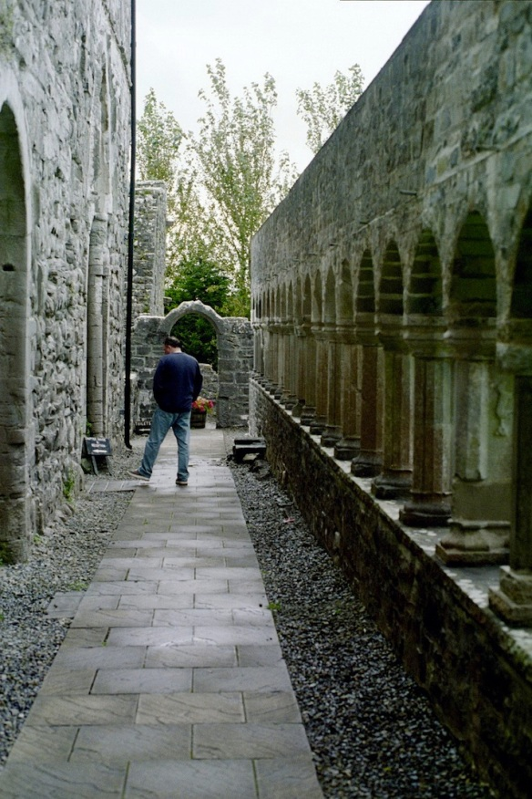 Gerry reading old stones at Ballintubber Abbey, 2003.